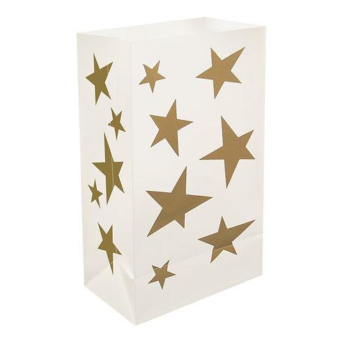 Plastic Luminaria Bags – Gold Star 12ct