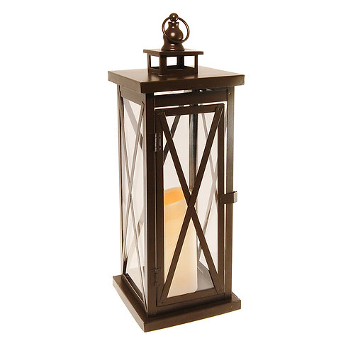 Metal Lantern w/LED Candle - Warm Black Crisscross