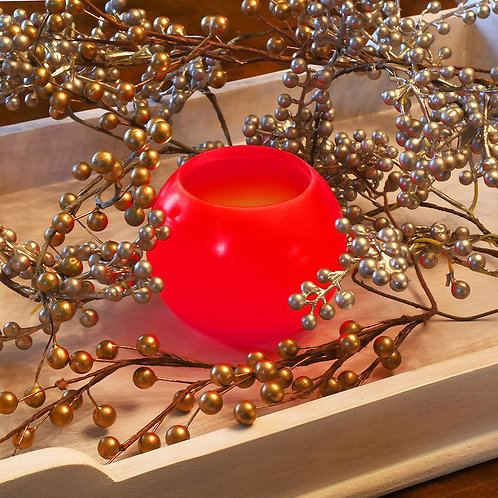 "LED Wax Candles - 4"" Ball Red (set of 2)"