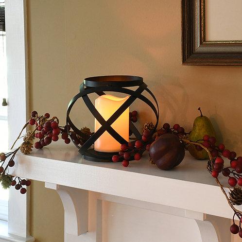Metal Lantern w/LED Candle - Banded Large
