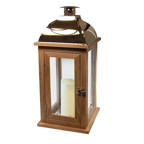 Wooden Lantern/LED - Brown/Copper