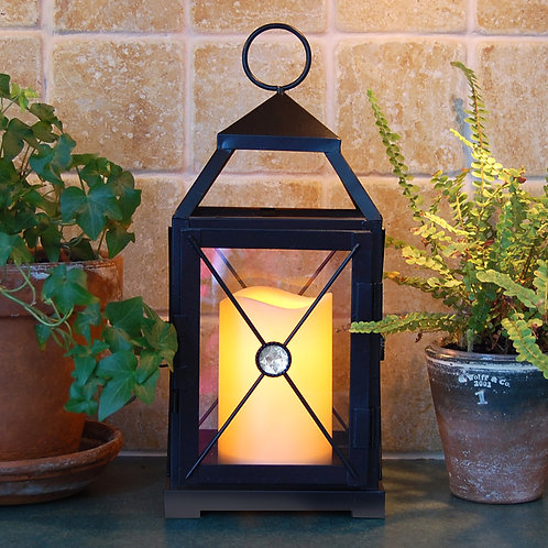 Metal Lantern Gem Design with Flameless Candle 1ct