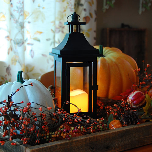 Classic Metal Lantern (SM) in Black with Flameless Candle 1ct