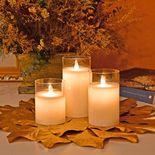 LED Glass Wax Candles -  Hurricane (set of 3)