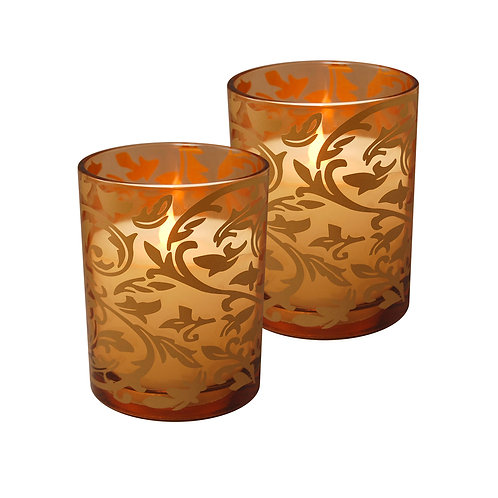 LED Wax Candle in Gold Jacquard Glass 2ct