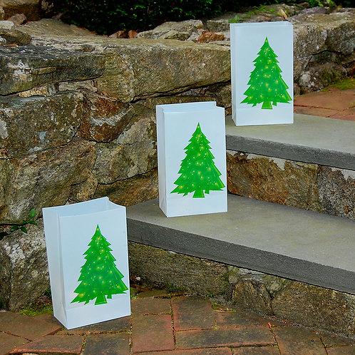Plastic Luminaria Bag - Holiday Tree 12ct