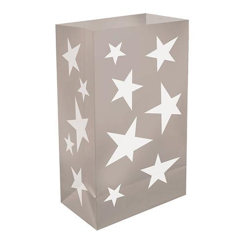 Plastic Luminaria Bags – Silver Stars 12ct
