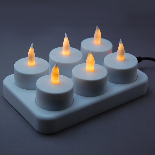 Electric Rechargeable Tealights - Flickering Amber 6L