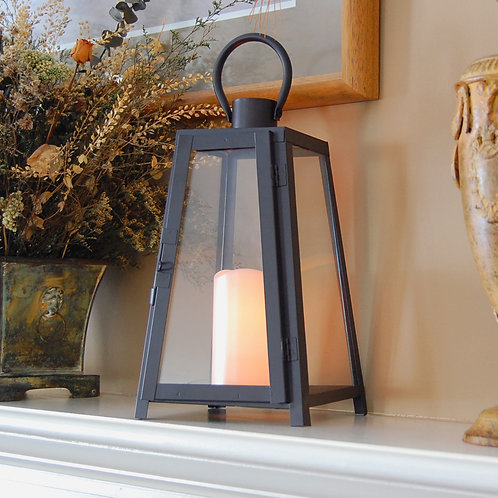 Metal Lantern Black Tapered Design with Flameless Candle 1ct