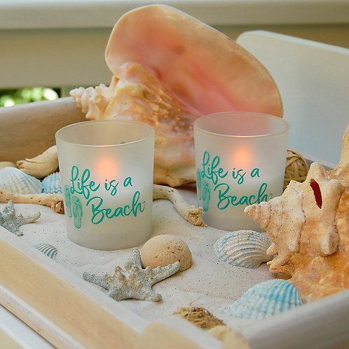 LED Glass Wax Candles - Life is a Beach (set of 2)