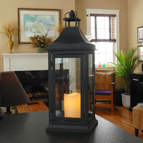 Classic Metal Lantern (Large) in Black with Flameless Candle 1ct