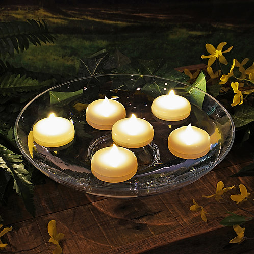 Battery Operated Floating LED Candles - Flickering Amber 6L