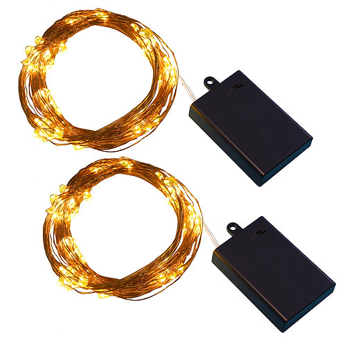 Battery LED Multi Strand Fairy Lights - White/Copper 2-100L