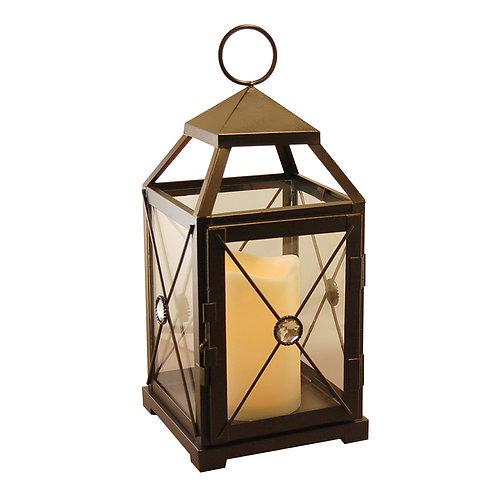 Metal Lantern w/LED Candle - Warm Black Gem