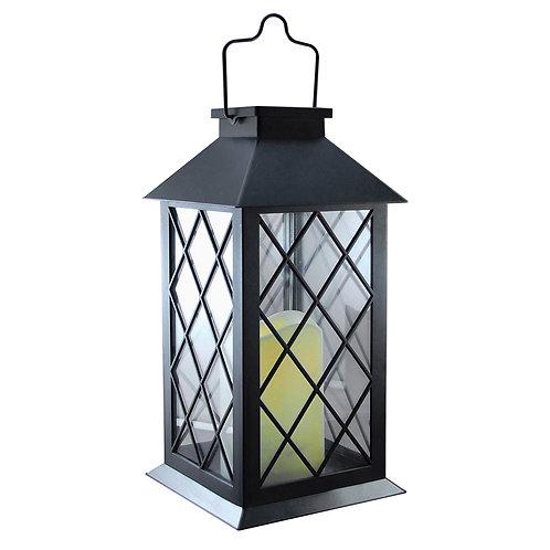 Solar Lantern Tudor Black w/Candle
