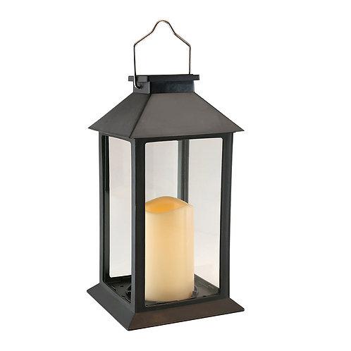 Solar Lantern Traditional Black w/Candle