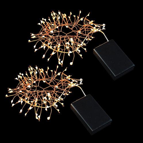 Battery LED Fairy String Lights Firecracker - WW/Copper 2-100L
