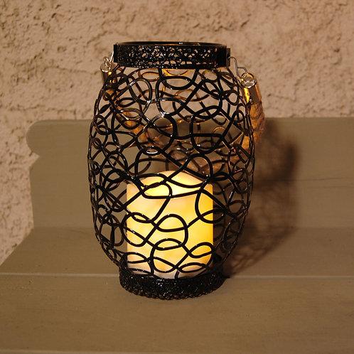Metal Lantern Black Swirl Design with Flameless Candle 1ct