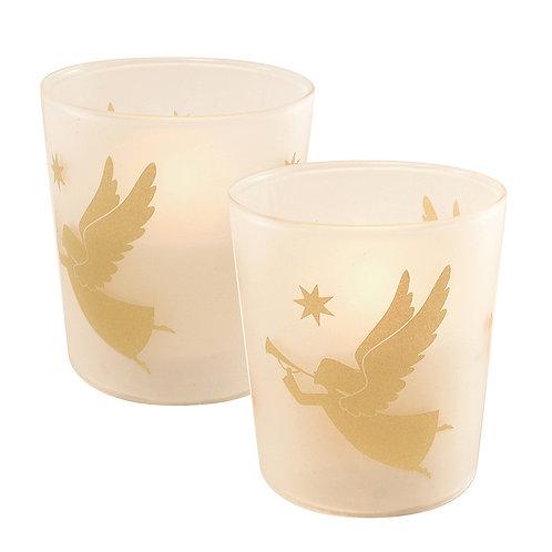 LED Glass Wax Candles - Angels (set of 2)
