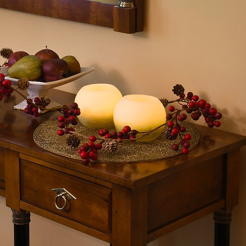 LED Wax Candles - Gold & White Ball (set of 2)