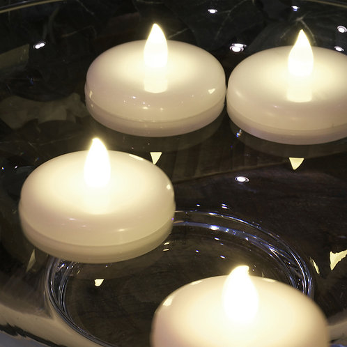 Battery Operated Floating LED Candles - Flickering White 6L