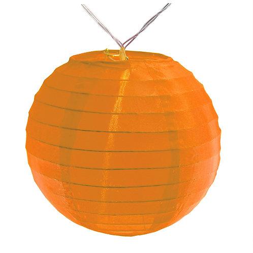 "Battery LED String Lights Nylon Lantern 6"" - Orange 10ct"
