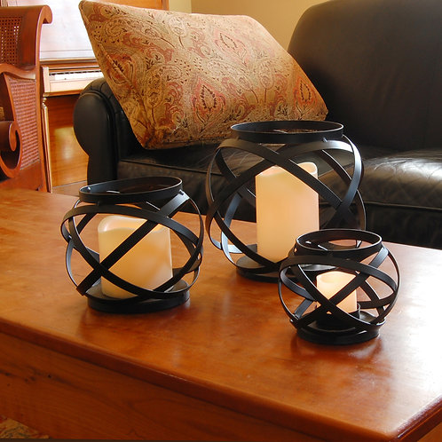 Banded Metal Lanterns with LED Candles Set of 3