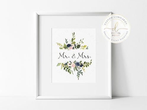 Mr. & Mrs. Digital Print (Navy Blush) - Instant Download