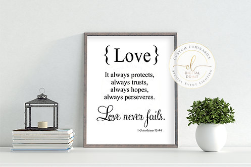 Love Never Fails Digital Print ***Instant Download***