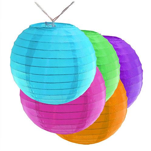 "Battery LED String Lights Nylon Lantern 6"" - Multi Color 10ct"