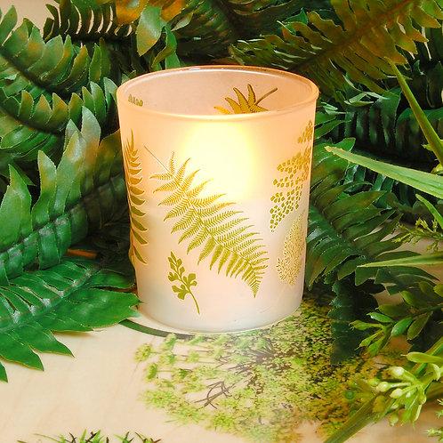 LED Glass Wax Candles - Ferns (set of 2)