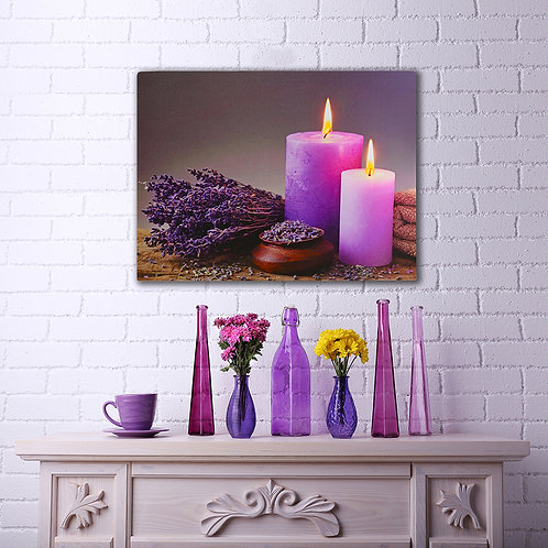 Battery LED Wall Art - Lavender Candles w/ Remote Control