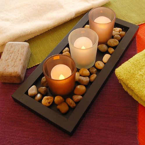 Wooden/Glass - Pebble Candle Tray