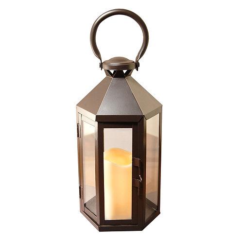 Metal Lantern Black Hexagon Design with Flameless Candle 1ct