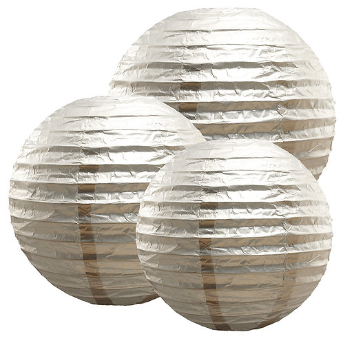 "Paper Lanterns Multi Size (12""-14""-16"") - Metallic Silver 6ct"