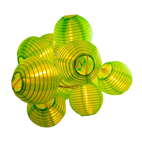 Electric String Light Nylon Lantern 10 – 3″ GREEN 1ct