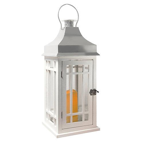 Wooden Lantern/LED - White/Chrome