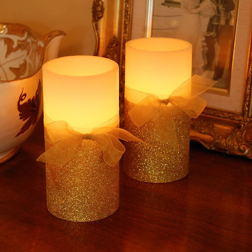 Wax Candle LED Gold & White w/ Gold Bow 2ct