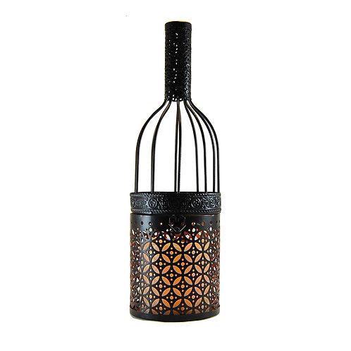 Metal Lantern w/LED Candle - Black Wine Bottle