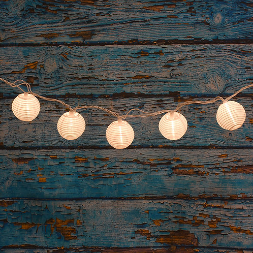 "Electric String Lights 3"" Nylon Lanterns - White 10L"