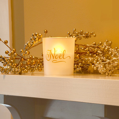 LED Glass Wax Candles - Noel (set of 2)