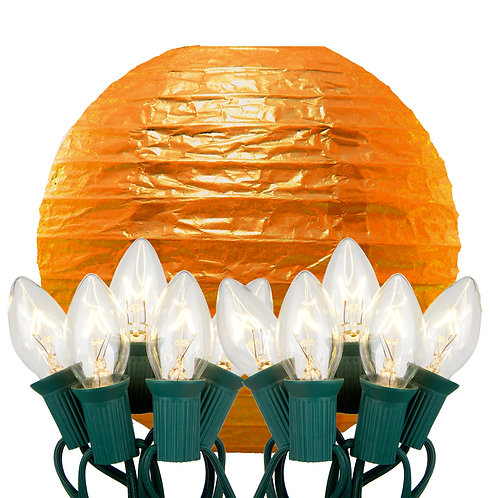 Electric String Lights with Orange Paper Lanterns Kit 10ct