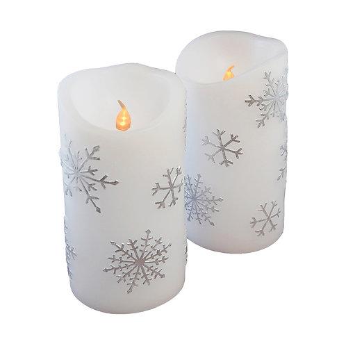 LED Wax Candles - Snowflake (set of 2)