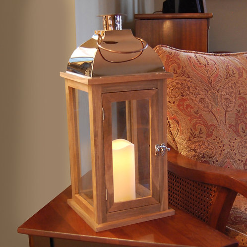 Wooden Lantern in Brown Finish and Copper Roof with Flameless Candle 1ct