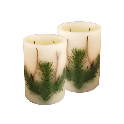LED Wax Candles - Pine Needle (set of 2)