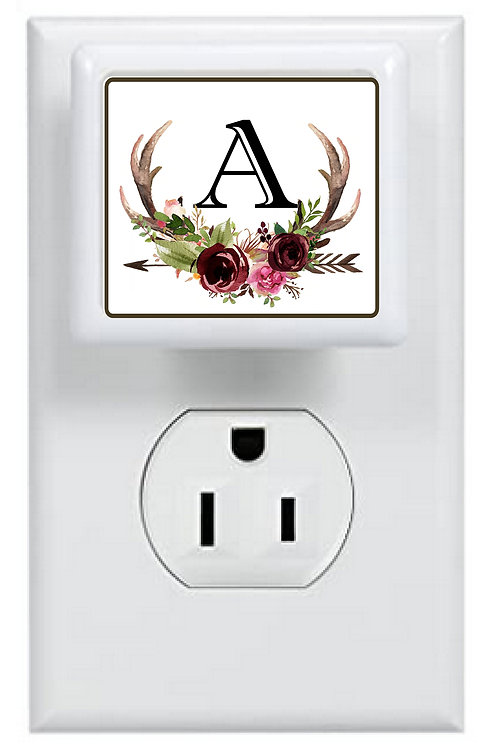 Floral Antler Monogram Night Light
