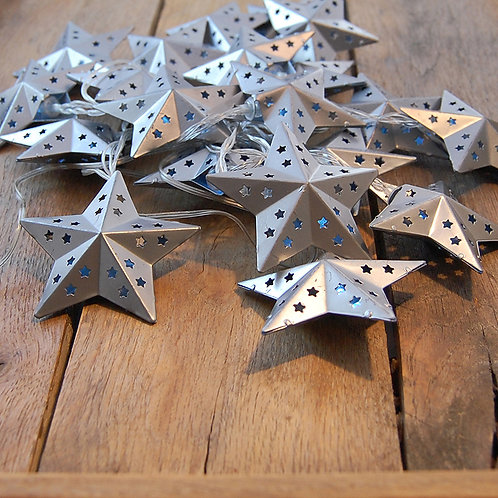 Solar String Lights Silver Star 1-20L