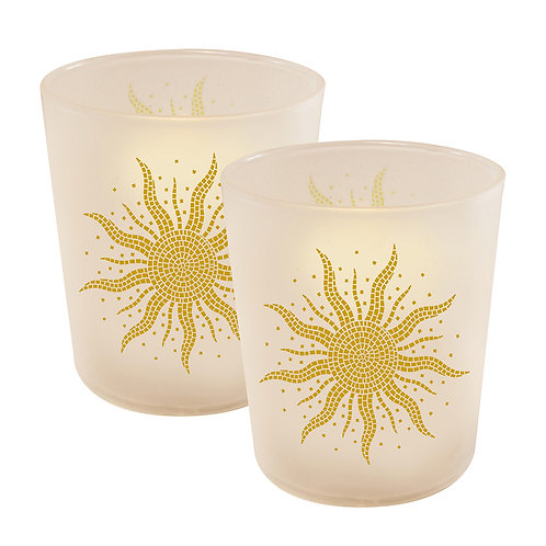 LED Glass Wax Candles - Mosaic Sun (set of 2)
