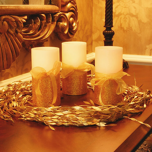LED Wax Candles - Gold Bow (set of 2)