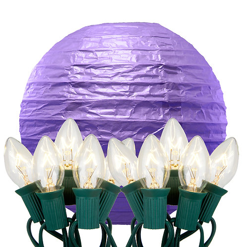 Electric String Lights with Purple Paper Lanterns Kit 10ct